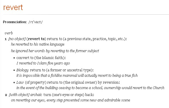 Revert in oxford dictionary online
